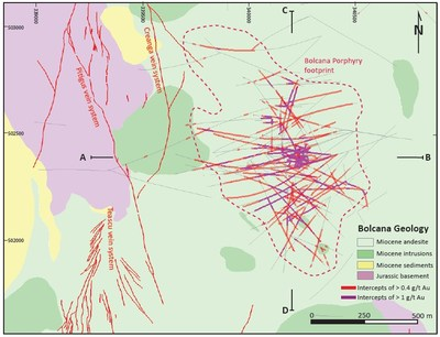 Figure 3: Geological map of the Bolcana Project area showing outline of the Au-Cu porphyry system and traces of drillholes completed in 2017 and 2018 programs. (CNW Group/Eldorado Gold Corporation)