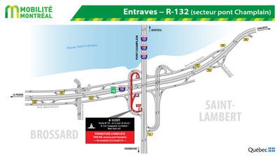 Entraves - R-132 (secteur pont Champlain) (Groupe CNW/Ministère des Transports)