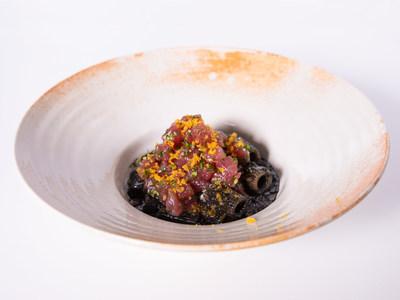 Chef Carolina Diaz's signature dish - Il Nascondiglio del Tonno (Tuna Hideout) mezze maniche rigate with tuna and roasted red pepper sauce.