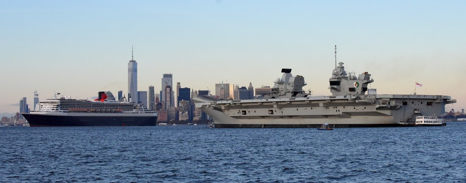 Cunard's flagship ocean liner Queen Mary 2 greets the Royal Navy aircraft carrier HMS Queen Elizabeth in the New York Harbor, Thursday, Oct. 25, 2018, during the carrier's first visit to the U.S. (Diane Bondareff/AP Images for Cunard)