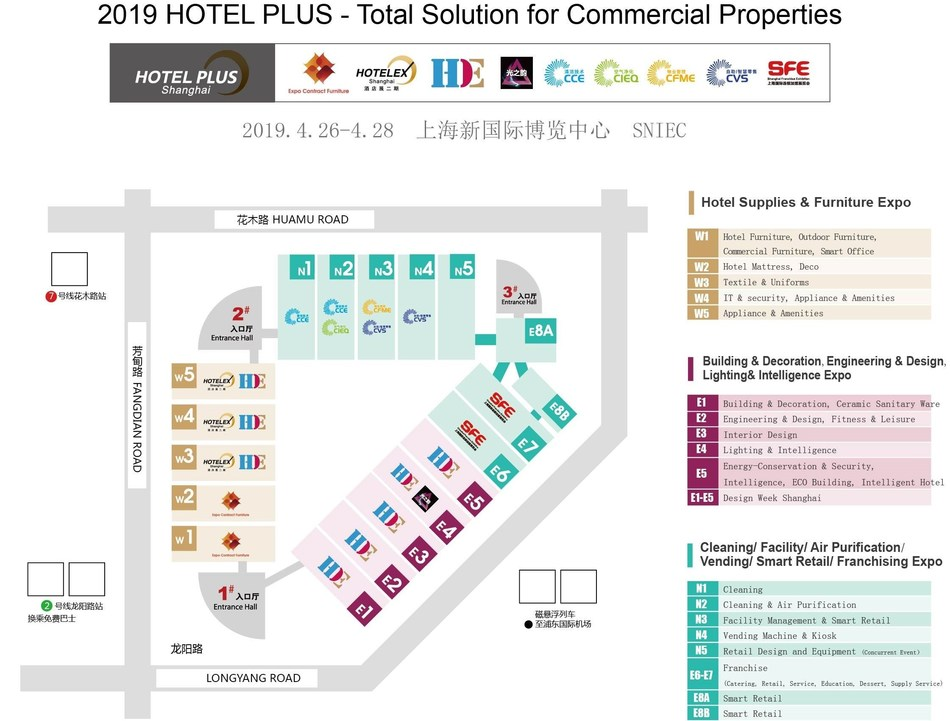 An overall floor plan of 2019 Hotel Plus