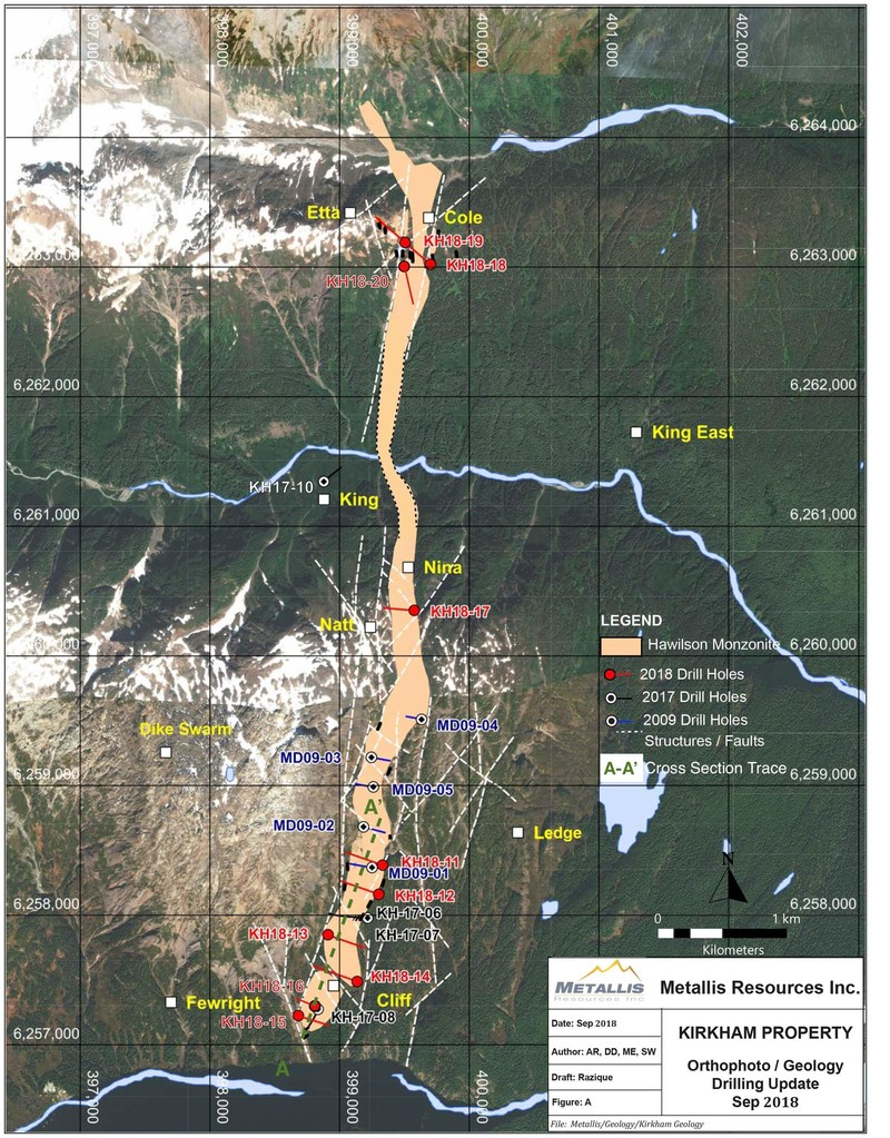 2018 Exploration Map on Hawilson Monzonite Complex (CNW Group/Metallis Resources Inc.)