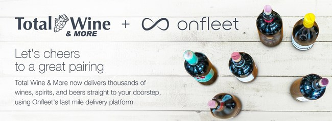 Let's cheers to a great pairing. Total Wine & More now delivers thousands of wines, spirits, and beers straight to your doorstep, using Onfleet's last mile delivery platform.