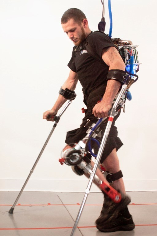 Mr Mark Daniels, suffering from a burst fracture t-10 vertebrae paralyzed from the waist down walking in a Exoskeleton Robotic suit