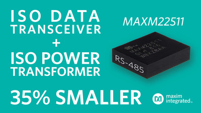 MAXM22511 is the industry's smallest isolated RS-485 module transceiver with power. With double the efficiency and a 35 percent smaller package versus competitive solutions, the MAXM22511 simplifies and shrinks the design of field bus communications systems for factory automation, motor control and other industrial internet of things (IIoT) applications.
