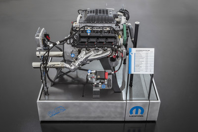 """The Mopar brand is stampeding into the 2018 Specialty Equipment Market Association (SEMA) Show with a brand-new HEMI®-engine-powered beast: the """"Hellephant"""" 426 Supercharged Mopar Crate HEMI engine, which turns the crank at a mammoth 1,000 horsepower and 950 lb.-ft. of torque."""