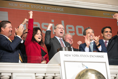 """Mike Nefkens, president and CEO of Resideo, and company leaders ring the opening bell of the New York Stock Exchange (NYSE) on Tuesday, Oct. 30. Resideo became an independent company following a spinoff from Honeywell on Oct. 29. Resideo is now trading under the ticker symbol """"REZI."""" Resideo is a leading global provider of critical comfort and security solutions primarily in residential environments, and distributor of low-voltage and security products. Learn more at www.resideo.com/news"""