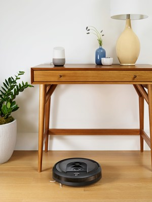 The iRobot Roomba® i7+ robot vacuum is ideally suited to enable intuitive and personalized smart home experiences based on an ability to learn a home's floor plan. Using the Google Assistant, users can direct the robot to clean a specific room with a simple voice command, like 'Hey Google, clean the kitchen'.