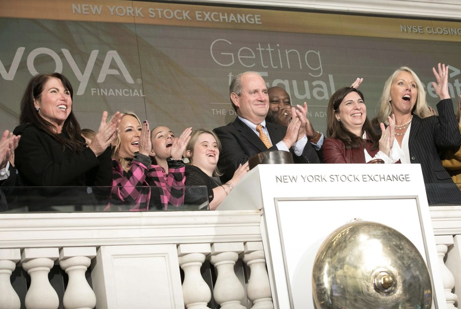 L to R: Nan Ferrara, EVP, Operations and Continuous Improvement, Voya Financial; Sara Hart Weir, President and CEO, National Down Syndrome Society; Kayla McKeon, Manager, Grassroots Advocacy, National Down Syndrome Society; Rod Martin, Chairman and CEO, Voya Financial; Stacey Cunningham, President, New York Stock Exchange; Jill Houghton, President and CEO, Disability:IN