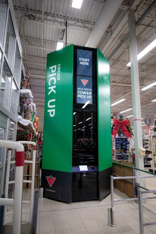 Canadian Tire is the first-ever Canadian retailer to put into market new, automated, 16-foot Self-Serve Pick-Up Towers for online purchases. (CNW Group/CANADIAN TIRE CORPORATION, LIMITED)