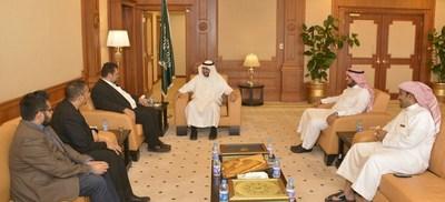 Blocktech CEO Nick Spanos and his delegation welcomed to Madinah, Saudi Arabia by Taibah University President Abdulaziz Al-Sarrani and Taibah Valley CEO Dr. Abdulrahman Alolayan