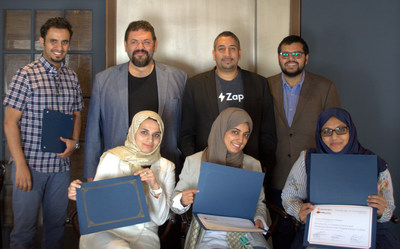 Professor Walaa Alharthi, Director of the Taibah Valley Blockchain Lab, and fellow faculty members complete training in advanced blockchain programming at Blocktech headquarters in New York City, with Blocktech CEO Nick Spanos, Kumail Akbari, Lead Instructor, and Hamdan Azhar, Director of Growth and Strategic Partnerships