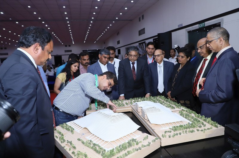 The distinguished Supreme Court and High Court Judges led by Justice Ramana look at the Amaravati Justice City Model. (PRNewsfoto/CSL)