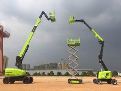 A Zoomlion vai lançar três novas linhas de plataformas de construção aérea. São elas: plataforma de trabalho aéreo de braço reto, plataforma-tesoura elevatória e plataforma elevatória de braço de manivela. (PRNewsfoto/Zoomlion)