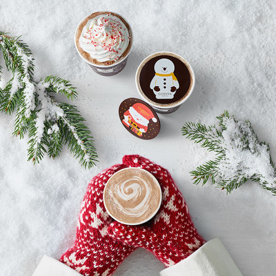 GODIVA hot chocolate featuring the seasonal Hot Chocolate Toppers, available online and in-store