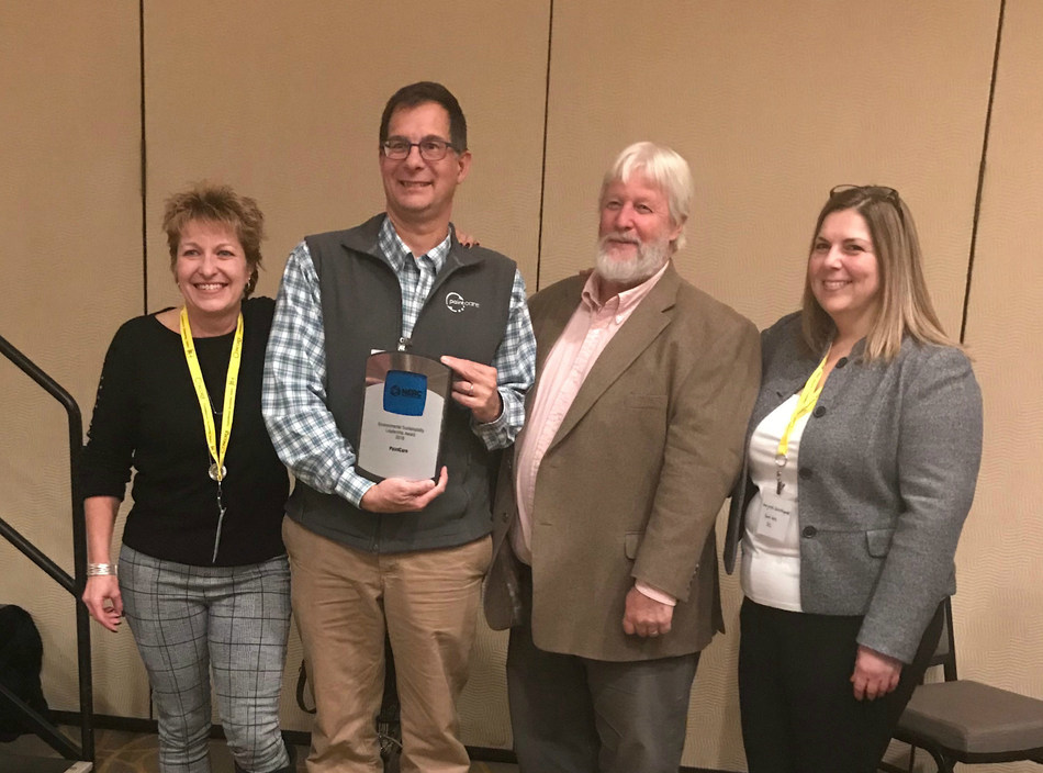 PaitCare's Laura Honis (CT/RI state manager), John Hurd (VT/ME state manager), and Marjaneh Zarrehparvar (Executive Director) accept the Northeast Recycling Council's 2018 Environmental Sustainability Leadership Award, along with Connecticut State Senator Craig Miner.