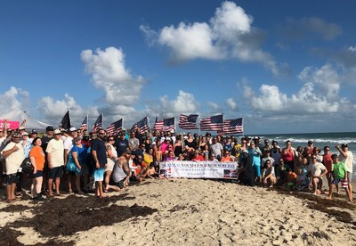 Warriors and families bonded with each other at Fort Pierce Inlet State Park during a surf day organized by Wounded Warrior Project® (WWP). To welcome the warriors, a crowd lined the entrance to the beach, displayed the color guard, played bag pipes, and cheered for the warriors.