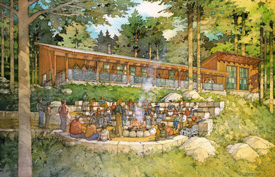 The National Environmental Science Center features replicable green building technologies that students use while at camp and are ideas that they can take back to their schools and homes. Rendering: Al Forster