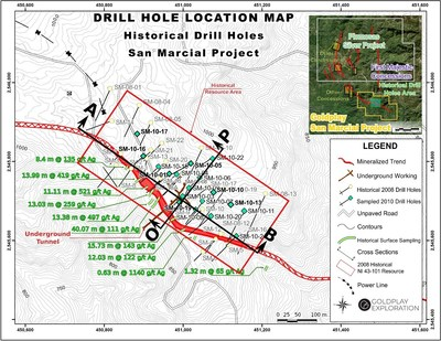 Figure 1: Drill Hole and Underground Tunnel Location Map San Marcial Project (CNW Group/Goldplay Exploration Ltd)