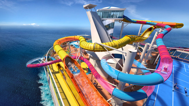 The Perfect Storm brings a new wave of excitement with the boldest duo of waterslides yet. Hearts will pound when guests take on The Blaster, the cruise line's first-ever aqua coaster and the longest waterslide at sea, and Riptide, the industry's only headfirst mat racer.