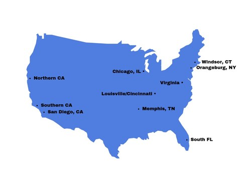 Map of MSA Security's Regional Training Facilities