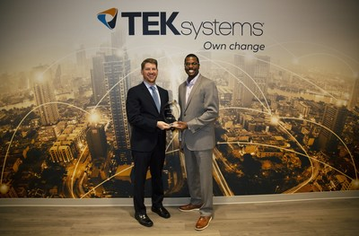 TEKsystems of Hanover, Md., has received the the Polaris Award from Creating IT Futures. The award recognizes the company's outstanding leadership in building information technology careers for those in need of new career opportunities. Charles Eaton (left), CEO of Creating IT Futures, presented the award to Franklin Reed, Director of Inclusion and Diversity at TEKsystems, for the company's outstanding leadership in building career opportunities in technology.