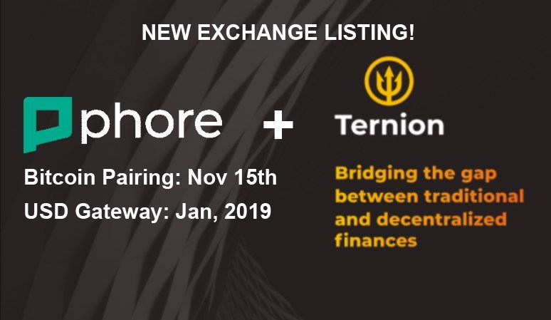 Phore Blockchain to List on High-Security Ternion Exchange