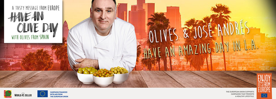 "The Campaign ""Have an Olive Day"" Makes a Stop in LA With the Prestigious Chef José Andrés (PRNewsfoto/Olives from Spain)"