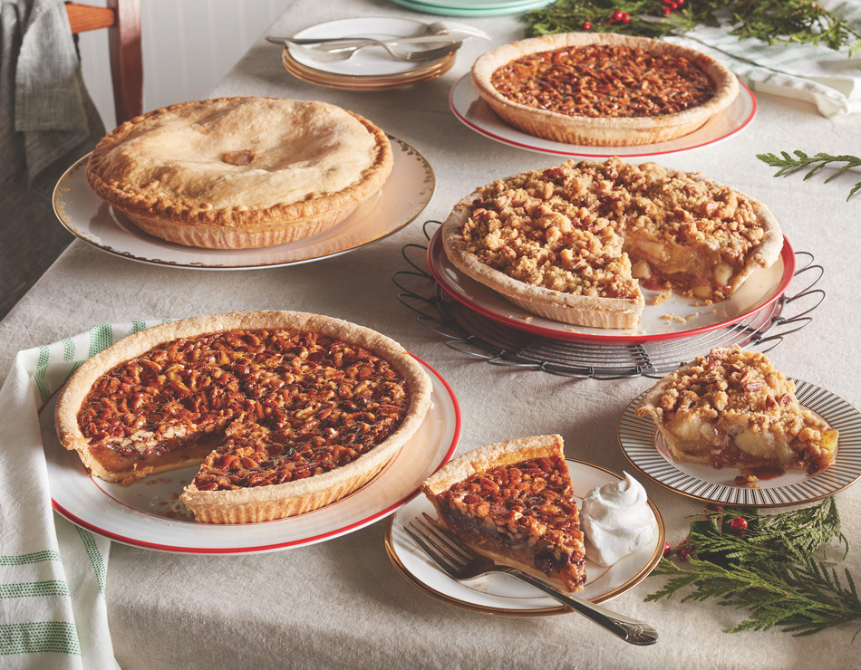 Cracker Barrel will offer fresh baked pies including Chocolate Pecan, Pecan, Apple Pecan Streusel and All-American Apple Pie (no sugar added) for $8.99 from Oct. 29 through Dec. 24. Pumpkin pies will also be available Nov. 17 - 25.
