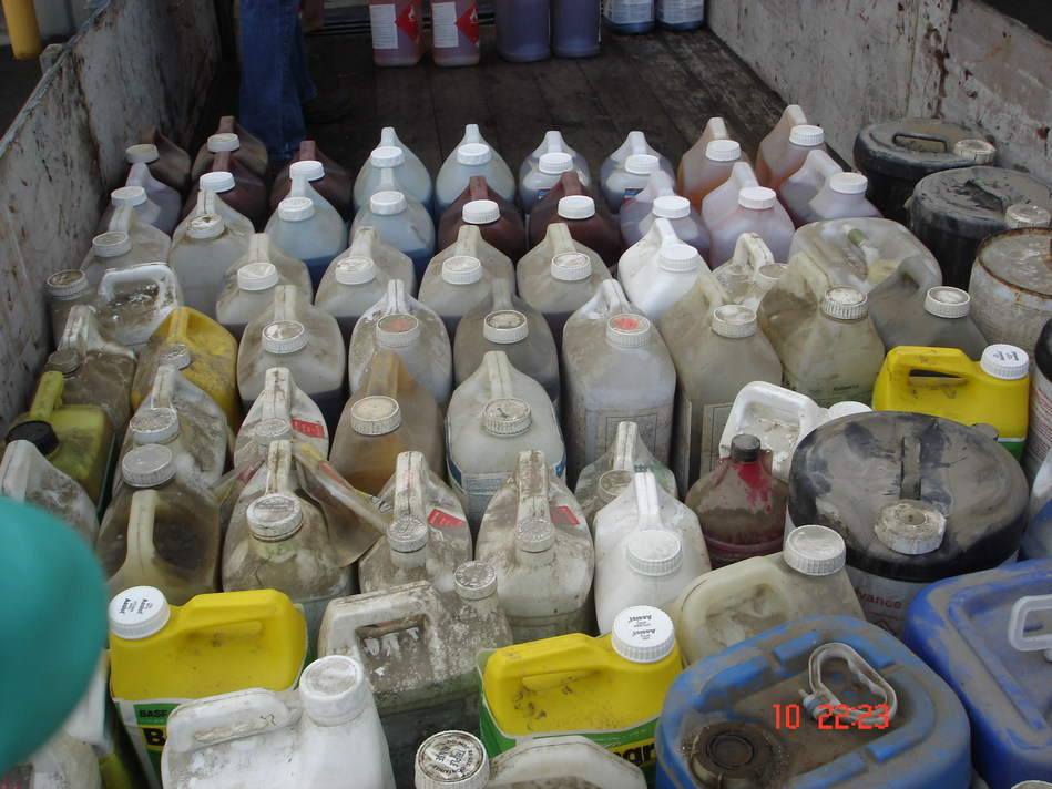 Containers of unwanted and old pesticides and livestock/equine medications recovered at a recent Cleanfarms collection event. (CNW Group/Cleanfarms Inc.)