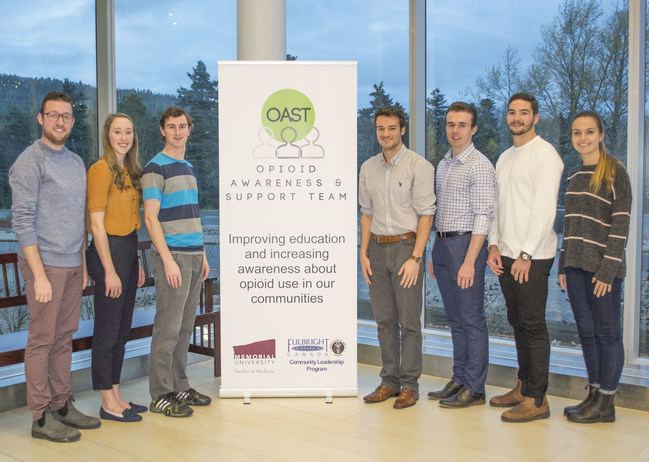 (Left to right) OAST members Philip Hillier, Brooke Turner, Josh Lehr, Matthew Downer, Luke Duffley, Kieran Lacey, and Madison Lewis after a successful Education Day on October 30, 2018 at Memorial University. (CNW Group/Fulbright Canada)