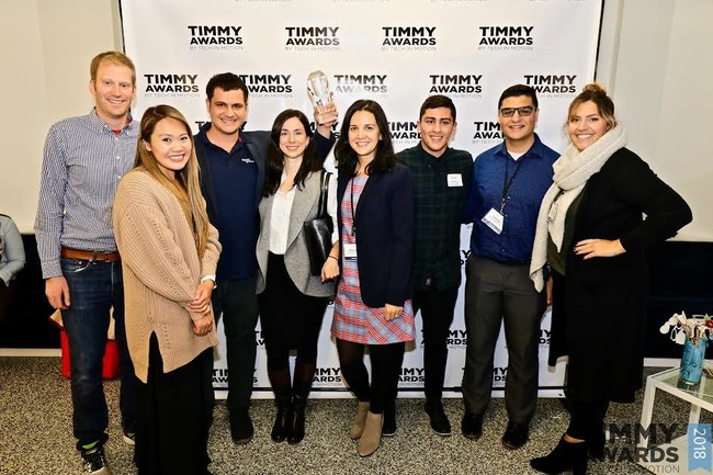 Digital Authority Partners wins Tech in Motion's 2018 Timmy Award for Best Tech Workplace for Diversity (Chicago). Team holding Timmy Award.