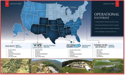 Cargo Screening K9 Alliance's operational footprint and geographic distribution and areas of responsibilities for each of its Alliance partners.