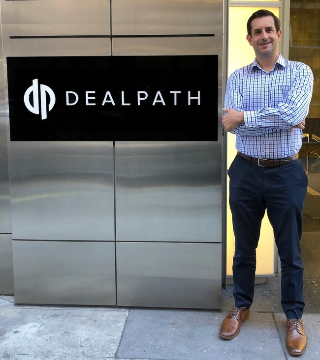 Dealpath office sign and Mike Sroka CEO in New York City and San Francisco