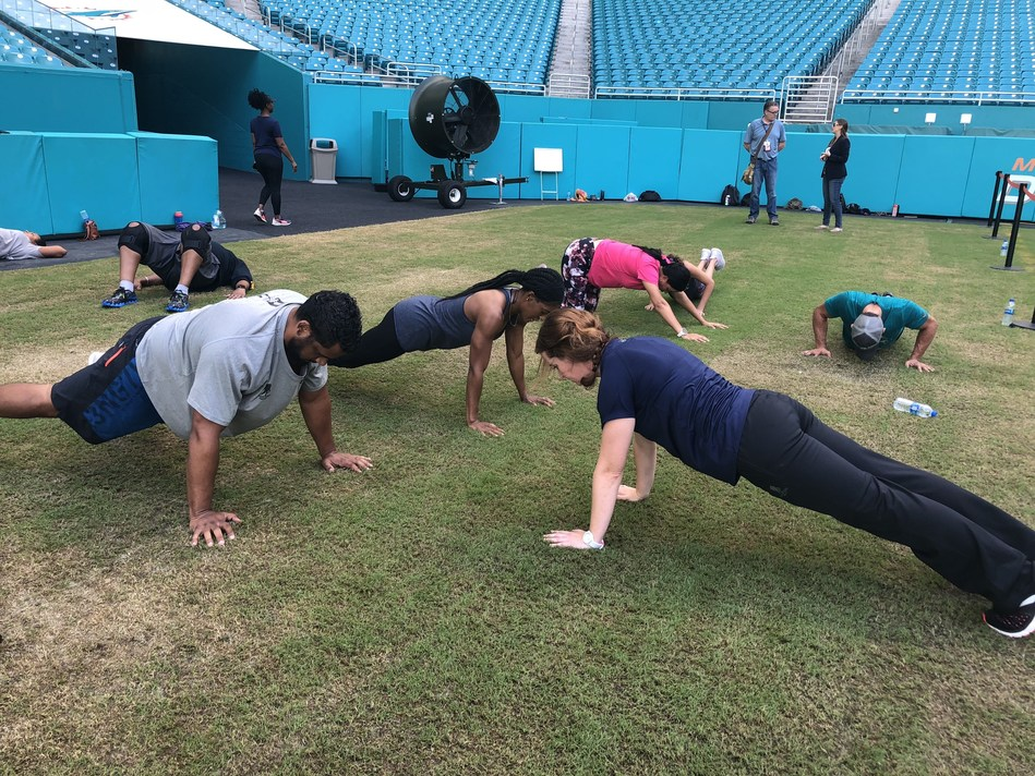 "Wounded Warrior Project celebrated 15 years of service with workouts in multiple cities. The Miami Dolphins hosted wounded warriors at Hard Rock Stadium during the special ""15 Years of Service"" workout."