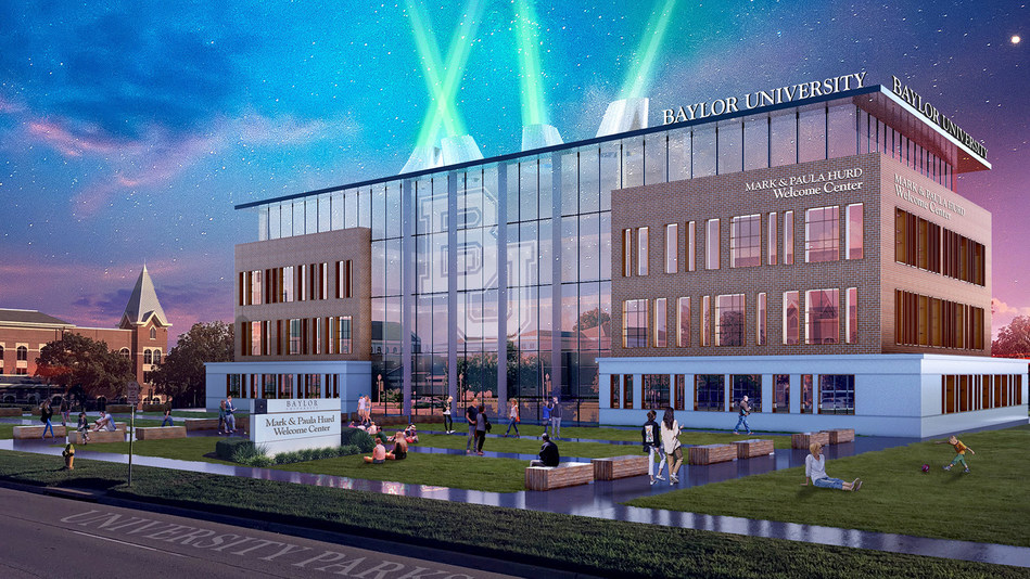Architectural rendering of the exterior of the future Mark and Paula Hurd Welcome Center at Baylor  University.
