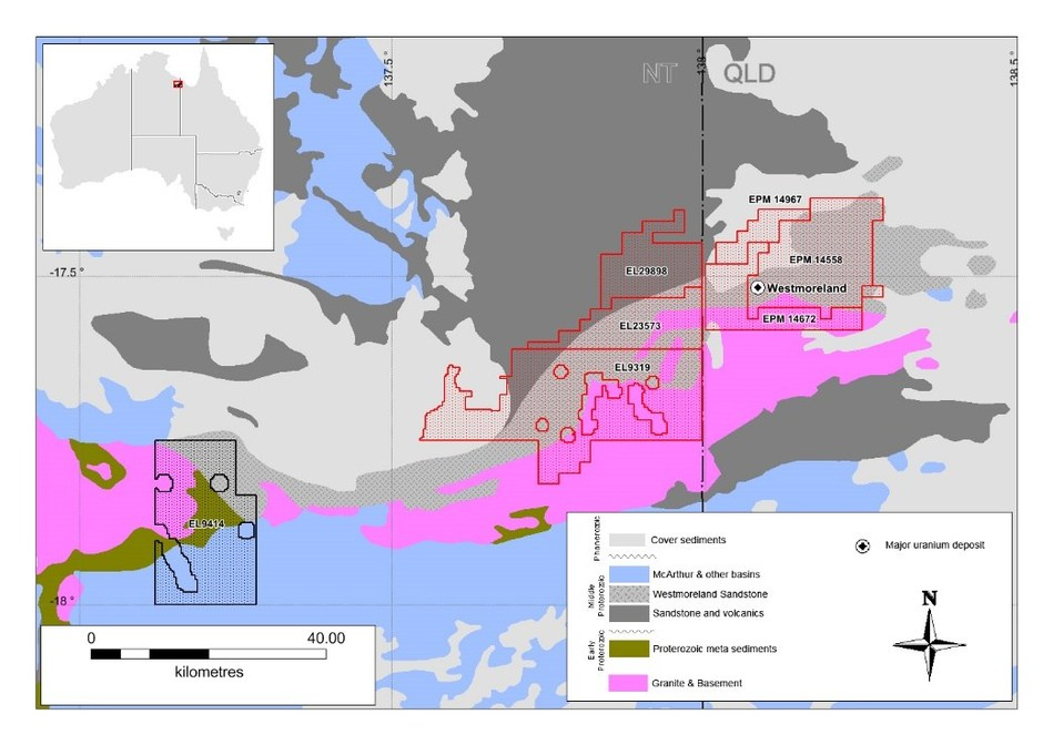 Figure 2 – Now 100% Laramide tenements covered by Falcon AGG (red outline). (CNW Group/Laramide Resources Ltd.)