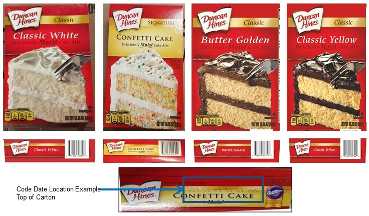 Recalled Duncan Hines cake mixes