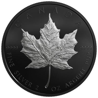 Edição limitada da folha de bordo em prata com acabamento em ródio negro da Casa da Moeda Real Canadense