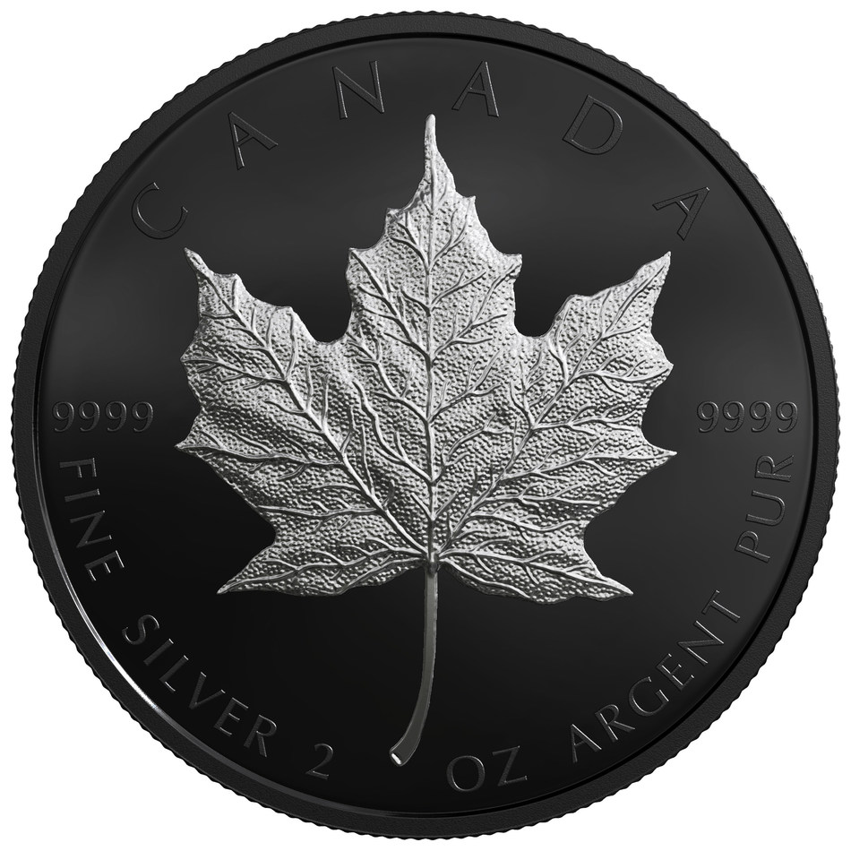 Hoja de Arce de Plata de edición limitada de la Casa Real de la Moneda de Canadá con enchapado de rodio negro