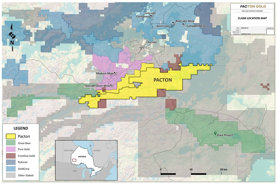 Figure 2.  Location map of Pacton claims in Red Lake area (CNW Group/Pacton Gold Inc.)