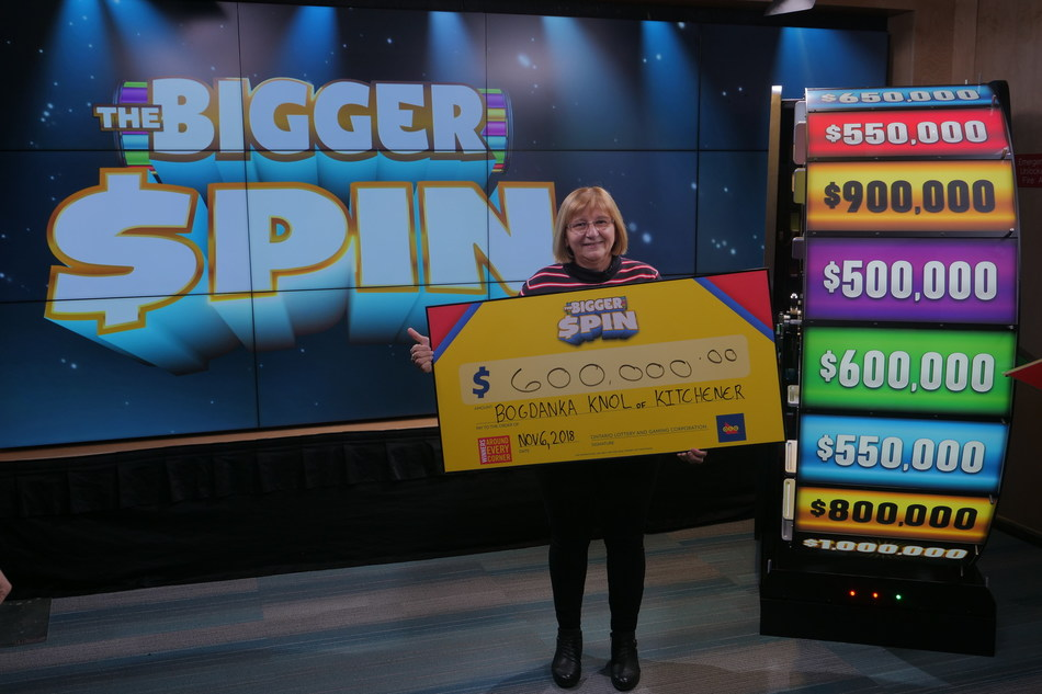 Bogdanka Knol of Kitchener celebrates after spinning THE BIGGER SPIN Wheel at the OLG Prize Centre in Toronto to win $600,000. Knol won a top prize with OLG's new INSTANT game – THE BIGGER SPIN. (CNW Group/OLG)