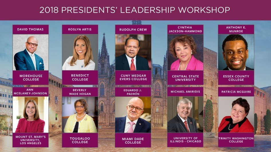 Presidents of MSIs who are attending the fourth annual Presidential Leadership Workshop hosted by CIEE and the Penn Center for Minority Serving Institutions (CMSI).