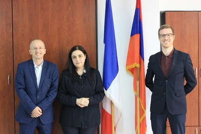 Professor Jean-Mark Lavest, Rector of the French University of Armenia, and Professor Kristina Sargsyan of the Department of Informatics and Applied Mathematics, after the signing of the Blocktech-UFAR partnership in Yerevan with Blocktech's Armenia director of operations Peter Mikkelson, in October 2018
