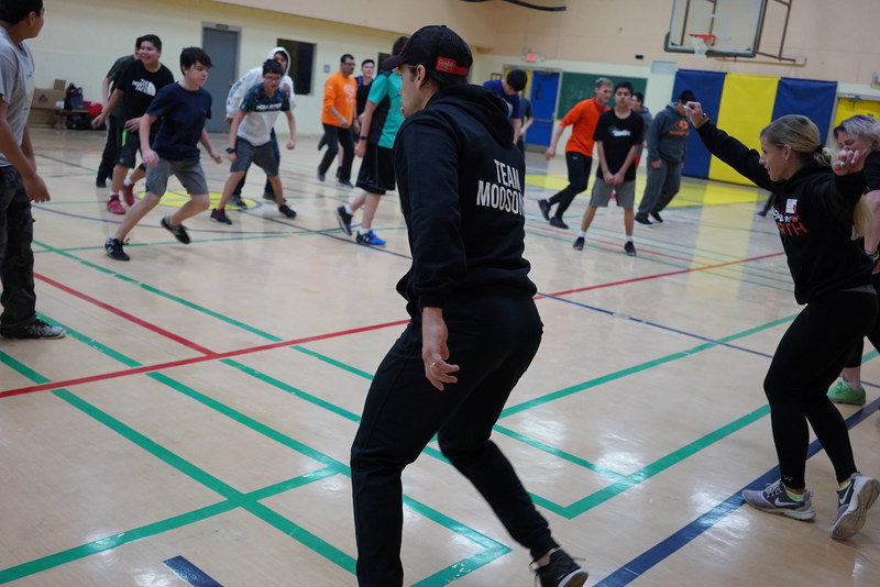 The GoodLife Fitness team spent a day leading group fitness classes and demonstrating fitness moves to students at Northern Lights high school. (CNW Group/GoodLife Fitness)