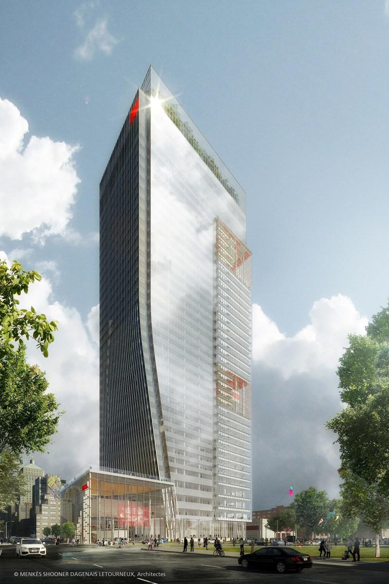 Esquisse du nouveau siège social de la Banque Nationale qui sera situé au 800, rue Saint-Jacques Ouest, à Montréal (Groupe CNW/Banque Nationale du Canada)