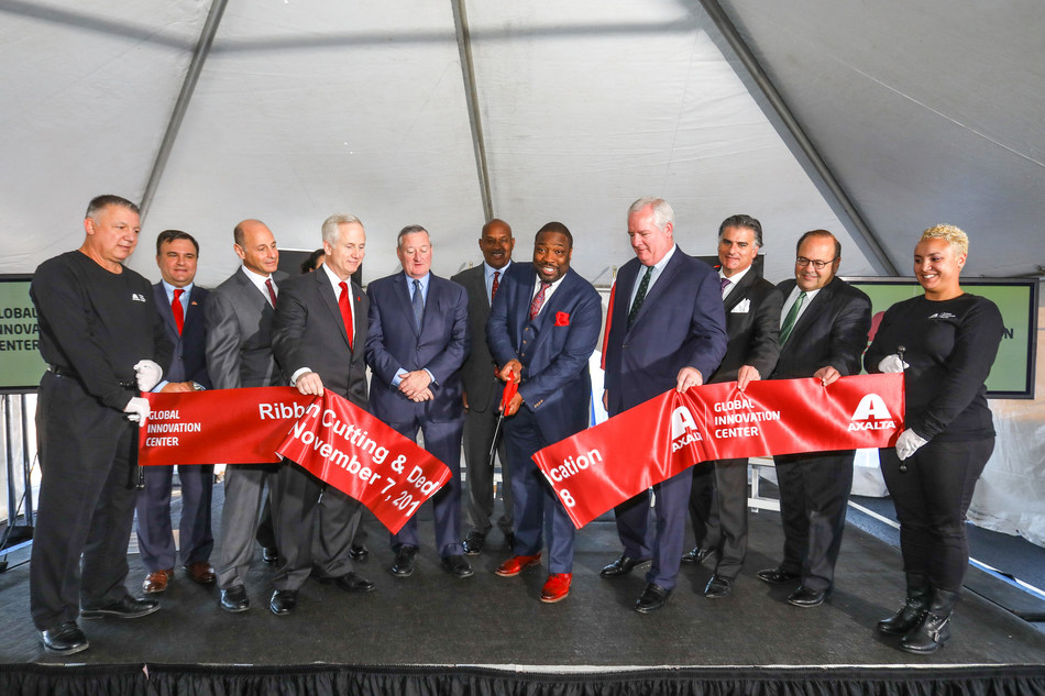 Ceremoniously cutting the ribbon to open the Axalta Global Innovation Center are (l to r): Rob Ferris, Vice President, Corporate Affairs, Axalta; Barry Snyder, Senior Vice President and Chief Technology Officer, Axalta; Robert Bryant, Interim Chief Executive Officer, Axalta; Jim Kenney, Mayor, City of Philadelphia; U.S. Representative Dwight Evans (PA-D); Councilman Kenyatta Johnson (2nd District), Philadelphia City Council; John Grady, President, Philadelphia Industrial Development Corporation; John Gattuso, Senior Vice President and Regional Director, Liberty Property Trust and Councilman Allan Domb, (At-Large), Philadelphia City Council.
