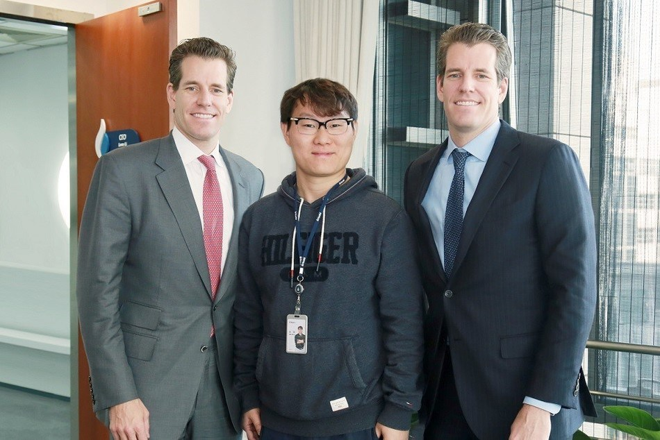 Huobi CEO Leon Li and COO Robin Zhu Meet Cameron and Tyler Winklevoss to Discuss Global Synergy