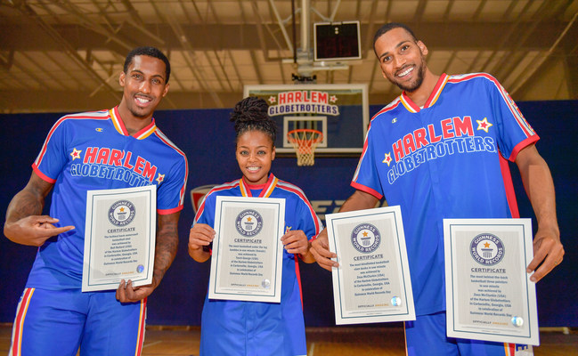 The Harlem Globetrotters set five new Guinness World Records in celebration of Guinness World Records Day. (L-R) Bull Bullard, Torch George, Zeus McClurkin