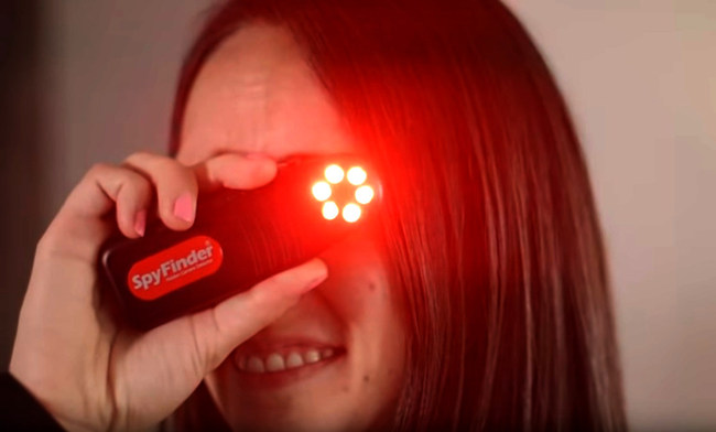 When the power button is pressed on the side, look through the viewfinder to activate six special bright-red LED strobe lights designed to bounce off the smallest of camera lenses. The tiny camera lens will appear to blink back as a reflection off camera lens itself; instantly giving away its location.